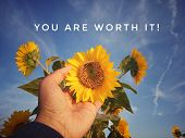 Inspirational Motivational Quote - You Are Worth It. With Hand Holding Sunflower Blossom On Blue Sky poster
