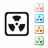 Black Radioactive Icon Isolated On White Background. Radioactive Toxic Symbol. Radiation Hazard Sign poster