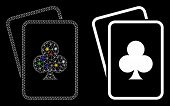 Glowing Mesh Clubs Gambling Cards Icon With Sparkle Effect. Abstract Illuminated Model Of Clubs Gamb poster