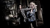 picture of sneaky  - Zombie attacking a girl in an abandoned house - JPG