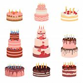 Bday Sweet Baked Isolated Cakes Set. Strawberry Icing Cake For Holiday, Cupcake, Baked Brown Chocola poster