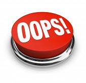 stock photo of apologize  - A big red button with the word Oops to press and get customer support or service or to fix or correct an error - JPG
