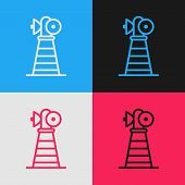 Color Line Antenna Icon Isolated On Color Background. Radio Antenna Wireless. Technology And Network poster