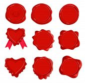 Wax Stamps Vector Icons. Decorative Candle Seal Postage Stamp Set Isolated On White, Detailed Letter poster