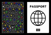 Glossy Mesh Passport Icon With Glitter Effect. Abstract Illuminated Model Of Passport. Shiny Wire Fr poster