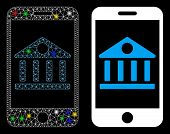 Glossy Mesh Mobile Bank Icon With Sparkle Effect. Abstract Illuminated Model Of Mobile Bank. Shiny W poster
