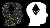 Glossy Mesh Ethereum Thinking Head Icon With Sparkle Effect. Abstract Illuminated Model Of Ethereum  poster