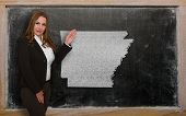 Teacher Showing Map Of Arkansas On Blackboard