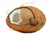 stock photo of coir  - A cracked coconut isolated on a white background - JPG