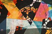 image of abstract painting  - Hand Painted Paper Collage as Design Element - JPG