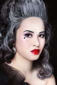 pic of marquise  - Portrait of young beautiful asian girl with vintage hairdo - JPG