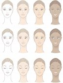 stock photo of suntanning  - Chart of Beautiful Woman complexion  - JPG