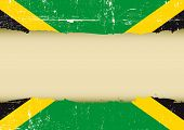 stock photo of jamaican  - Jamaican scratched flag - JPG
