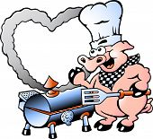 Hand-drawn Vector Illustration Of An Chef Pig Making Bbq