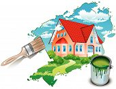 pic of paint brush  - Big private residence drawn by paints with beautiful nature illustration - JPG