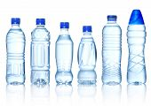 picture of drought  - Collection of water bottles isolated on white background - JPG