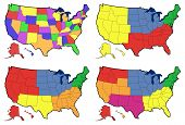 stock photo of northeast  - four detailed maps of United States showing state borders - JPG