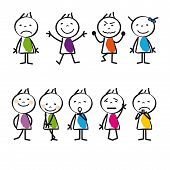 stock photo of animated cartoon  - Cute and colorful cartoon kids sad and happy - JPG