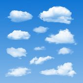 stock photo of rain cloud  - Set of Clouds on  blue sky - JPG