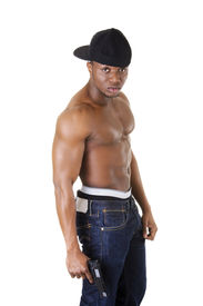 picture of gangsta  - Afro american man standing with gun in hand - JPG