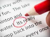 picture of grammar  - Proofreading its error on school term paper - JPG