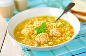 stock photo of meatballs  - Zucchini And Meatball Soup in a Deep Plate - JPG