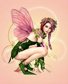 image of pixie  - 3d computer graphics of a fairy with butterfly wings - JPG