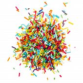 picture of jimmy  - decorating colored sugar sprinkles isolated on white background - JPG