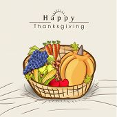 stock photo of indian apple  - Happy Thanksgiving celebration concept with wooden basket full of fruits and vegetables on grey background - JPG