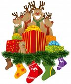 Christmas reindeer with christmas socks and gifts and tree