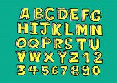 picture of cursive  - vector real Hand drawn letters font written with a pen - JPG