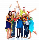 Happy people group isolated on white background. Christmas party.