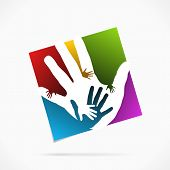 image of joint  - Abstract palm hand logo symbol vector illustration - JPG