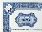 picture of debenture  - blue print on a 100 shares certificate  - JPG