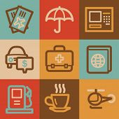 Travel web icons, vintage series