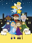 stock photo of christchild  - a illustration of nativity with three kings - JPG