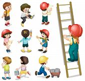 stock photo of headgear  - Illustration of the kids working on a white background - JPG