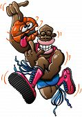 pic of dizzy  - Black basketball player wearing red tank and boots and blue shorts while performing an acrobatic high jump and spinning a ball which looks dizzy - JPG