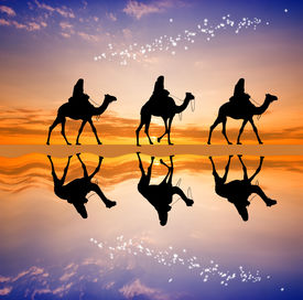 foto of magi  - an illustration of Magi Kings on camels following the star comet - JPG