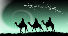 pic of magi  - an illustration of three Magi following the star of Bethlehem - JPG
