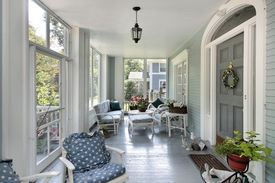 picture of screen-porch  - Screened in porch with teal walls in luxury home - JPG