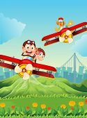 foto of float-plane  - Illustration of the planes with playful animals - JPG