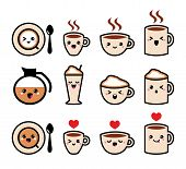 stock photo of kawaii  - Coffee icons set isolated on white  - JPG