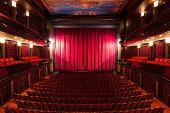 pic of cinema auditorium  - an old theater auditorium interior poor light - JPG