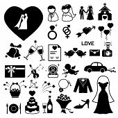stock photo of ring-dove  - Wedding icons set  illustration vector eps 10 - JPG