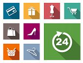 pic of gift basket  - Flat shopping icons on colorful web buttons including a bank card - JPG
