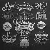 picture of food logo  - Illustration of Vintage Typographical Element for Menu On Chalkboard - JPG