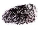 stock photo of dna fingerprinting  - Fingerprint with Black Ink on White Paper - JPG