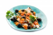 pic of hake  - fish fillet with tomatoes black olives and pepper - JPG