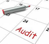 image of financial audit  - Audit Calendar Showing Inspecting And Verifying Finances - JPG